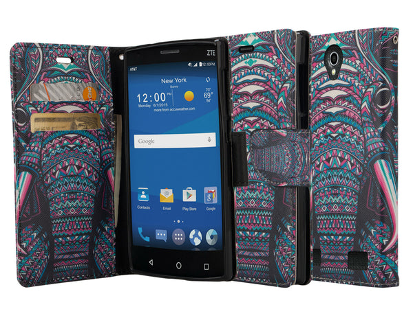 zte zmax 2 leather wallet case - tribal elephant - www.coverlabusa.com