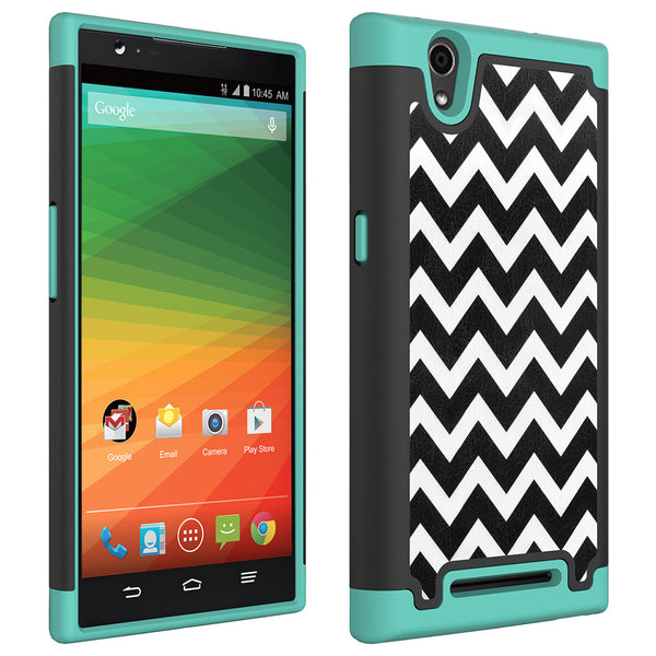ZTE ZMAX Z970 Slim Dual Layer Heavy Duty Armor Case - Teal Chevvron - www.coverlabusa.com