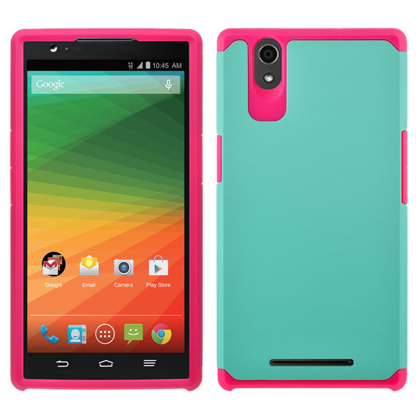ZTE Zmax Case , ZTE Zmax  Slim Hybrid Dual Layer Case - Teal/Hot Pink - www.coverlabusa.com