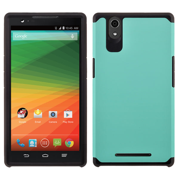 ZTE Zmax Case , ZTE Zmax  Slim Hybrid Dual Layer Case - Teal/Black - www.coverlabusa.com