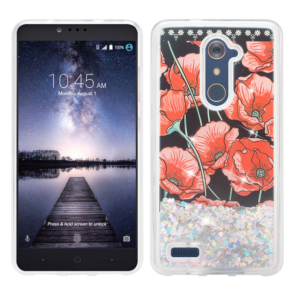 zte zamx pro  liquid sparkle quicksand case - red roses - www.coverlabusa.com