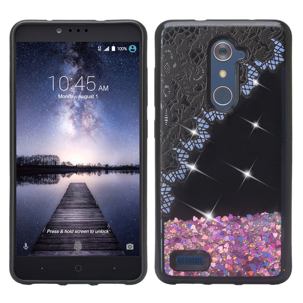 zte zamx pro  liquid sparkle quicksand case - purple lace - www.coverlabusa.com