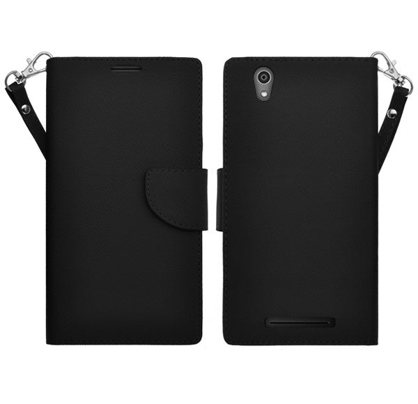 ZTE ZMAX leather wallet case - black - www.coverlabusa.com