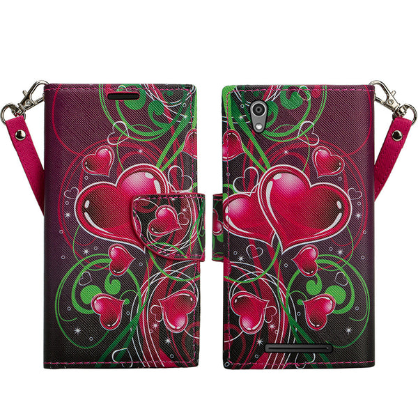 ZTE ZMAX leather wallet case - heart strings - www.coverlabusa.com