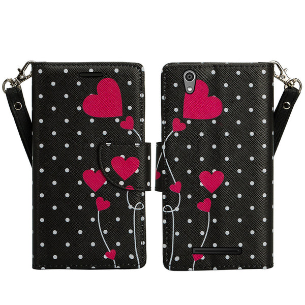 ZTE ZMAX leather wallet case - polka dot hearts - www.coverlabusa.com