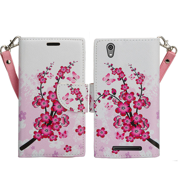 ZTE ZMAX leather wallet case - cherry blossom - www.coverlabusa.com