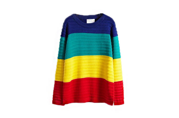 Harajuku Rainbow Color Block Sweater - KawaiiKoo