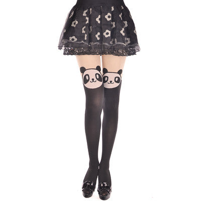Pantyhose women cute animal tights for girls - 60D Japan Sexy Party Tail Mock Fake Print Knee Length Thigh High Medias Stockings - KawaiiKoo