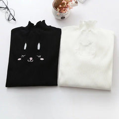 White Kitty Cutout Knitted Tops