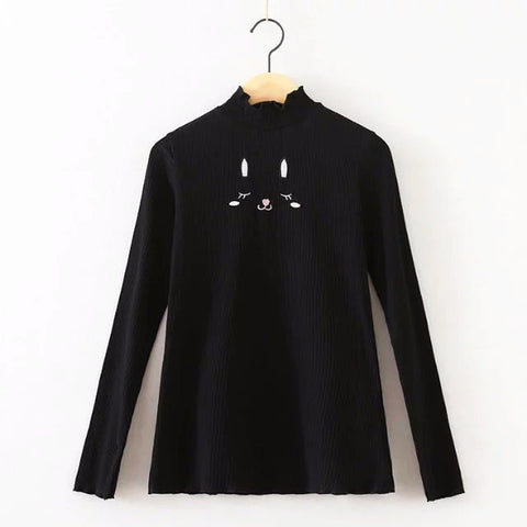 Black Bunny Long Sleeve Knitted Tops - KawaiiKoo