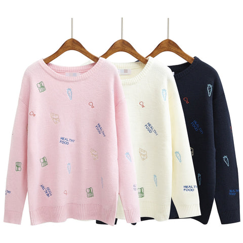 Healthy Food Love Embroidery Knit Pullovers - KawaiiKoo