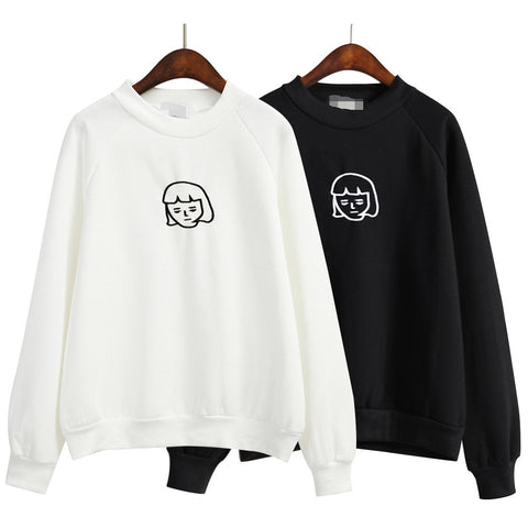 Baby Face Embroidery Sweatshirt with Fleece - KawaiiKoo