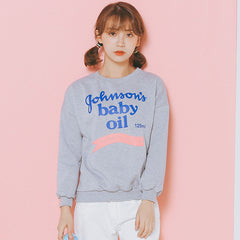 Baby Oil Printed Sweatshirt with Fleece - KawaiiKoo