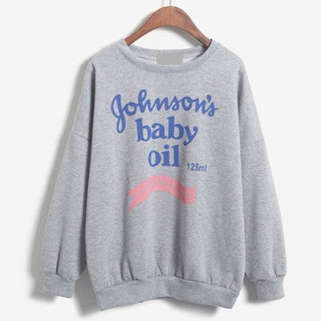 Baby Oil Printed Sweatshirt with Fleece