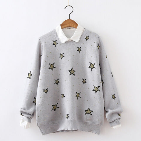 Golden Stars Knit Pullovers - KawaiiKoo