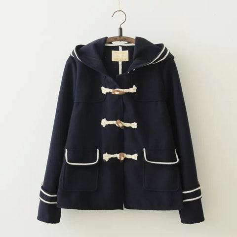 Preppy Trimmed Woolen Toggle Coat - KawaiiKoo