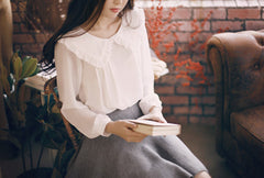 Romantic Ruffle Lapel Collar White Shirts - KawaiiKoo