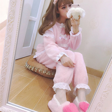 Fluffy Winter Bow and Ruffle Pajamas Sets - KawaiiKoo