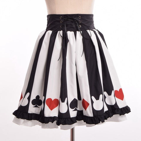 Poker High Waist A-Line Skirt