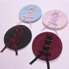 Ribbon Lace-Up Beret