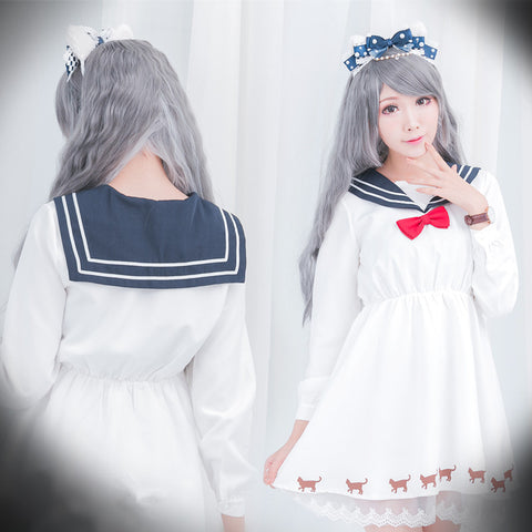 Kawaii Cat Print Lace Sailor Dress