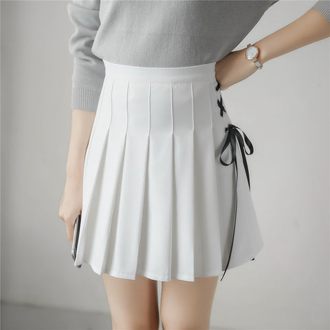 Spring Summer Pleated Lace-up Ribbon Skirt
