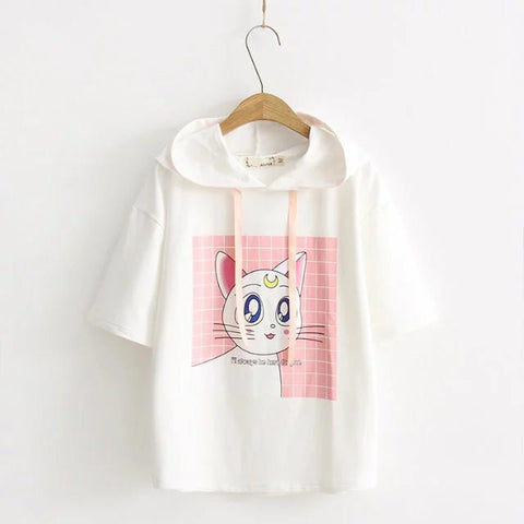 Sailor Moon Cat Ear  Hooded Short-sleeve Top