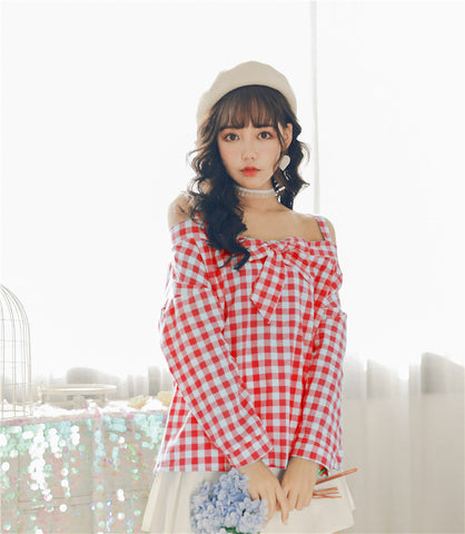 Bowtie Off Shoulder Retro Top