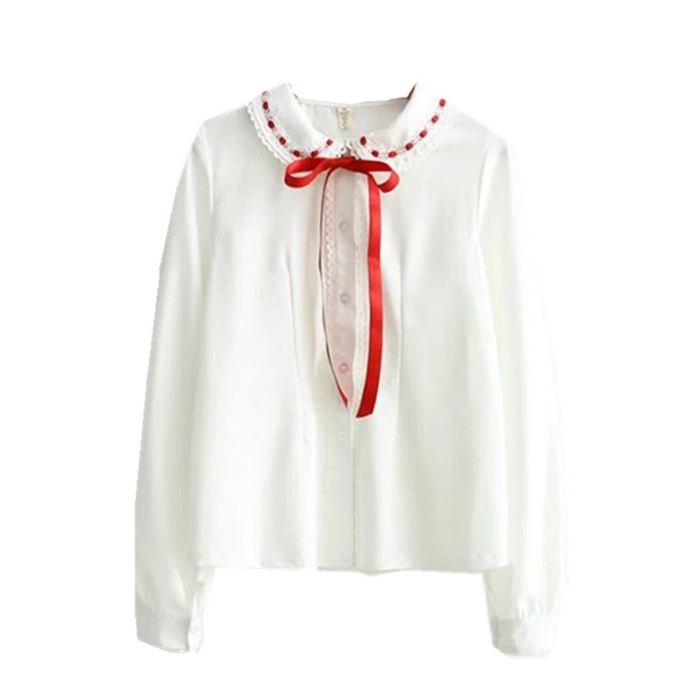 Chiffon w/ Red Ribbon Peter Pan Collar Blouse