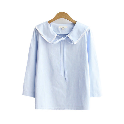 Peter Pan Collar Cotton Shirt in Sky
