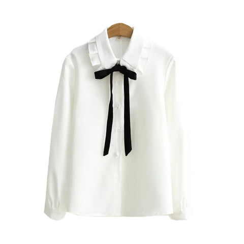 Peter Pan Collar Black Ribbon Shirt