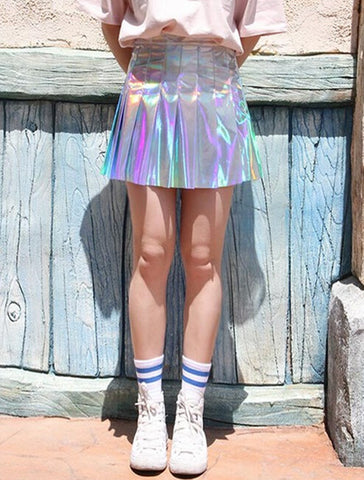 Holo High Waist  Pleated Skirt