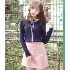Heart Pocket High Waist A Line Skirt