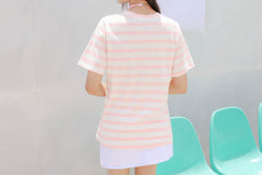 Fresh Striped Girlfriend Honey Round Neck Top