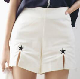 High Waist Embroidered Star Cut Shorts