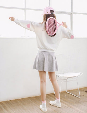 Heart Shaped Elbow Patchwork Sweatshirt - KawaiiKoo