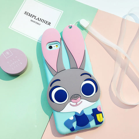 Judy 3D Silicon Phone Case + Strap for iPhone - KawaiiKoo