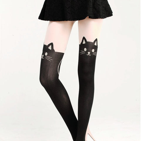 Lovely Black Cat Knitted Faux Knee-high Stockings - KawaiiKoo