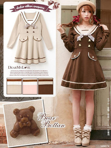 Bear Preppy High Waist One Piece Dress - KawaiiKoo