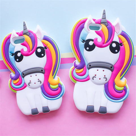 Hot Cute 3D Rainbow Unicorn Horse Animal Cartoon Soft Silicone Phone Cases Cover For iPhone 7 7Plus 5 5G 5S SE 6 6G 6S 6Plus 5.5 - KawaiiKoo