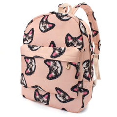 Cute Cat face Canvas Backpack - KawaiiKoo