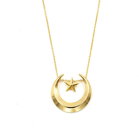 New Moon and Star Necklace - KawaiiKoo