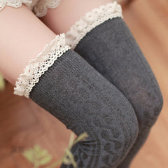Lace Trim Over-the-Knee knit Socks - KawaiiKoo