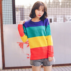 Harajuku Rainbow Color Block Sweater