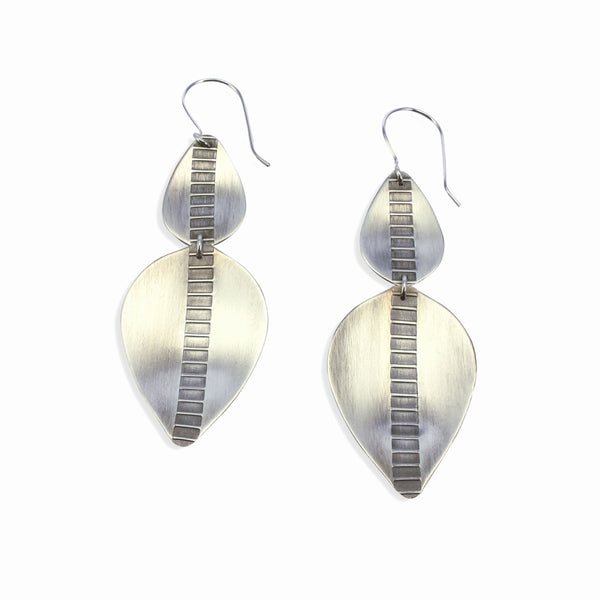 Argent Leaves | Double Leaf Earrings