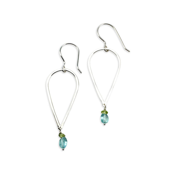 Argent | Open Leaf Earrings w/gemstone accents