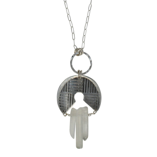 Athena's Helm Pendant | necklace with quartz points