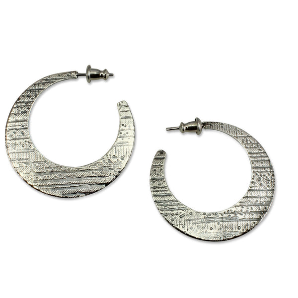 Luna | Textured Hoops - Large