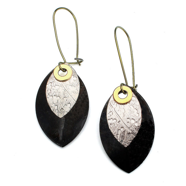 Falling Petals | layered mixed metal earrings