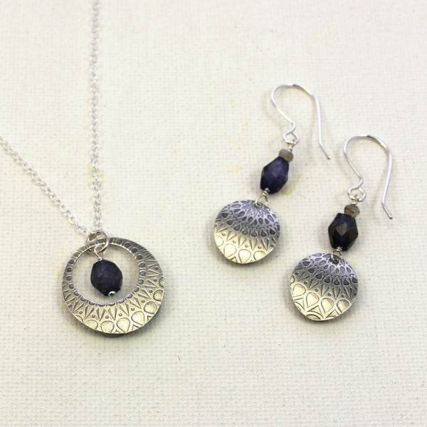 Mandala Texture Iolite Earrings & Necklace | WEB SPECIAL